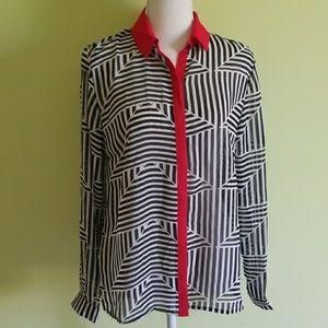 ASOS blouse white black red NWT size 10